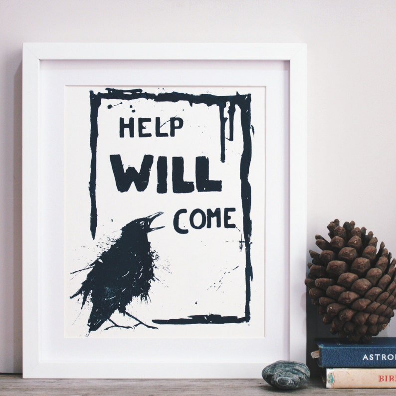 Reassuring Raven blue on white Original Screenprint. image 0