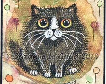 ACEO Tuxedo cat art, original painting, tea bag, watercolour, acrylics, pen and ink ATC by Suzanne Le Good