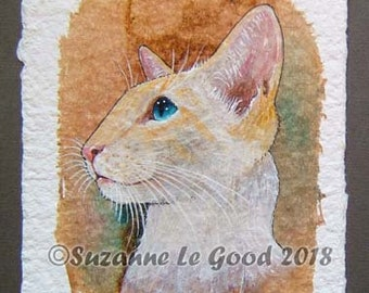 Siamese Cat, art painting, Redpoint, Flamepoint, creampoint on tea bag, original watercolour, acrylics, pen and ink by Suzanne Le Good