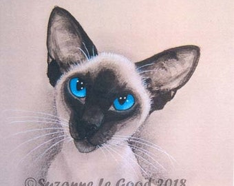 Siamese Cat art Limited Edition large print sealpoint meezer acrylics, charcoal, signed from painting by English artist Suzanne Le Good