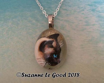 Siamese Cat sealpoint Applehead  art painting pendant glass pebble original jewellery hand painted by Suzanne Le Good