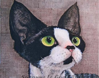 Devon Rex Cat art print Limited Edition signed tudexo from original painting by English artist Suzanne Le Good