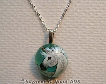 Unicorn horse pony art painting pendant glass pebble glitter original jewellery hand painted by Suzanne Le Good