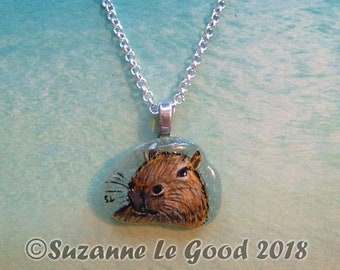 Capybara art pendant genuine Sea Glass painting original jewellery guinea pig hand painted by Suzanne Le Good