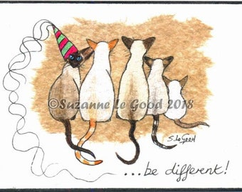 ACEO Siamese cat art, original painting, tea bag, watercolour, acrylics, pen and ink ATC by Suzanne Le Good