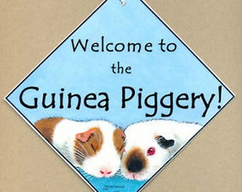 Original GUINEA PIG Cavy hanging welcome SIGN from original painting  by Suzanne Le Good