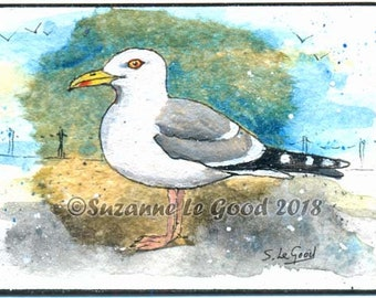 ACEO Herring Gull Sea gull art painting on teabag watercolour and acrylic original ATC by Suzanne Le Good