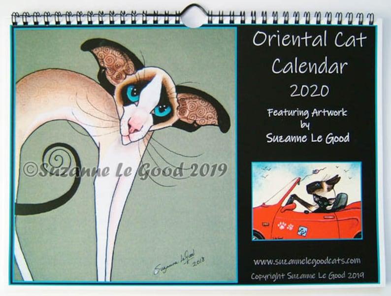 Oriental Cat art 2020 Calendar wall original painting paintings Suzanne Le Good