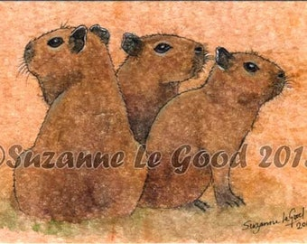 Capybara art painting, babies, Guinea Pig, original mounted painting, tea bag, watercolour, acrylics, pen and ink by Suzanne Le Good