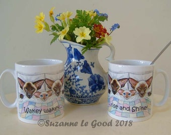 Siamese Cat Ceramic mug coffee, tea, from my original painting sealpoint, chocolatepoint, by English artist Suzanne Le Good