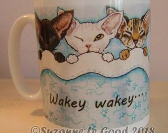 Devon Rex Cat Ceramic mug coffee, tea, from my original painting, black smoke, tabby, white, by English artist Suzanne Le Good