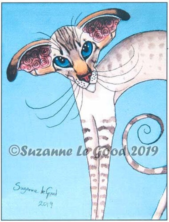 Siamese Cat Lady art print sealpoint from original painting by Suzanne Le Good