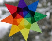Waldorf Rainbow Window Star - Decor for Waldorf Montessori ECFE Daycare Homeschool Classrooms - Art Education - Color Wheel - Birthday Wedding Anniversary or Christmas Gift - Naturalkids Team - Ecofriendly Natural Suncatcher