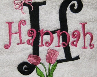 BATH TOWEL Tulip and Bow  Personalized FREE