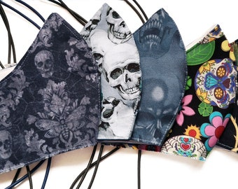 skull themed adjustable cotton  face mask - the original toggle mask  with filters