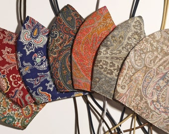 Liberty Tana Lawn paisley face mask - the original cotton multilayer adjustable toggle mask  with filters
