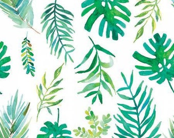 6597bd625090 Tropicale -White Palm Fronds- Digitally Printed -3 Wishes -Cotton Fabric-  Quilt -Apparel-WindyRobinCotton- Sold by half yard.
