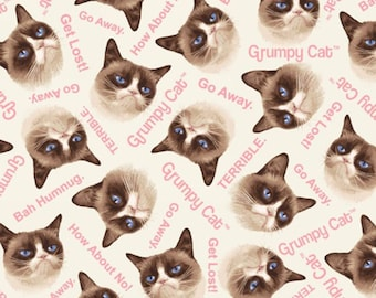 Grumpy Cat Collection-Cream Grumpy Cat Allover -Marcus Bros - Cotton Fabric- Cats- Quilt- *Sold by the half yard