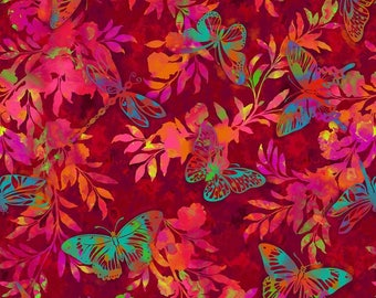 Aflutter - Fern - Scarlet  -From Studio E- Cotton Fabric- Butterflies - Apparel - Quilting Fabric-  * Sold by the Half Yard