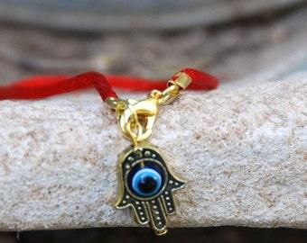 Red string bracelet evil eye, Kabbalah Madonna hamsa