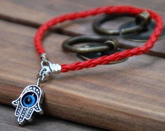 Hamsa red vegan leather kabbalah bracelet evil eye, good luck hamsa bracelet