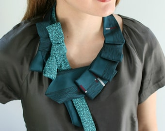 Teal Formal Necklace - Silk Scarf - Special Occasion Jewelry - Statement Necklace - Elegant Accessories.