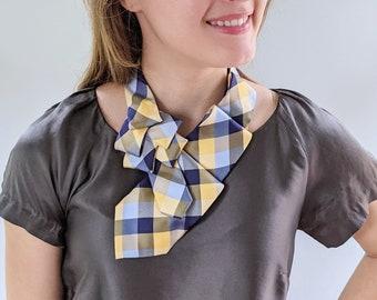 Plaid Ascot Scarf - Necktie Scarf - Eco Scarf - Tie Scarf.