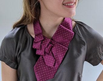 Plumb Silk Scarf - Woman's Tie - Woman's Ascot - Polka Dot Scarf