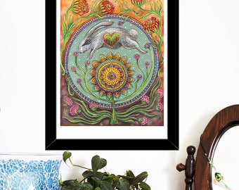 Archival 8 x 10 inch Art Print - Leap Into Gratitude - rabbit, spring, summer, autumnal art