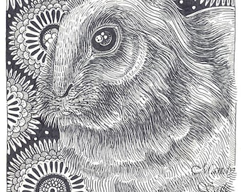 """Rabbit Ink Drawing 11 - 8 x 10"""" ART PRINT of a beautiful bunny perfect for lovers of black and white art or bunny and animal lovers"""