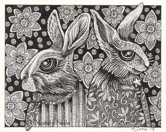 """Rabbit Ink Drawing 21 - a whimsical black & white ink pen 8 x 10"""" ART PRINT of two rabbit lovers in a portrait style with lovely decorations"""