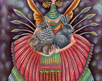 "Tamsin, Trafalski, Tamina and Thibbs - an 8 x 10"" ART PRINT for animal lovers of a beautiful friendship between rabbtis owls and human"