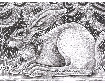 """Rabbit Ink Drawing 24 - a whimsical 8 x 10"""" ART PRINT of whimsical playful rabbit in ink pen perfect for ink pen, animal and bunny lovers"""