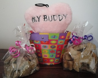 Birthday Basket-Home Baked All Natural Gourmutt Treats
