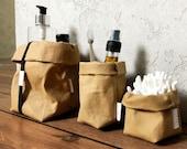 Washable Paper Bag / Storage Basket / Paper Bag Planter / Paper Sack / Bathroom Storage / Makeup Bag / Sustainable Storage / Gift for Her