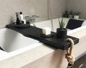 Black wooden bath caddy, Bath shelf, Bath accessories, Live edge bath board, Bath tray, Bathroom decor, Bathtub tray, Gift for her