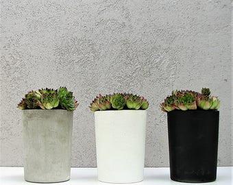 Black Concrete Pot / Modern Pen Holder / Concrete Planter / Decorative Pot / Modern Storage Pot / Desk Organizer / Black Pen Holder