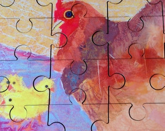 Farmyard chicken and chicks wooden puzzle