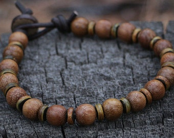 Mens Beaded Bracelet, Mala, Men's Leather Bracelet, Surfer Bracelet, Wood Beads, Brown, Leather Cord, Bohemian, Rustic, Masculine