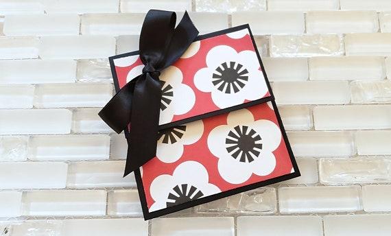 Red Floral Gift Card Holder Envelope Money
