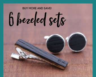 6 Wooden Cufflinks and Tie Bar set - Groomsmen gift - 5th wedding anniversary present - Gift for Him - Graduation Gift - Gift for Husband