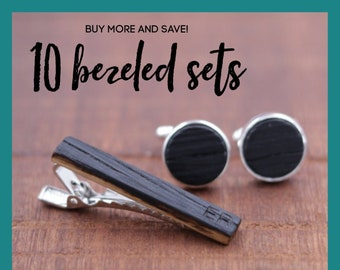 10 Wooden Cufflinks and Tie Bar set - Groomsmen gift - 5th wedding anniversary present - Gift for Him - Graduation Gift - Gift for Husband