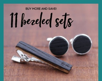 11 Wooden Cufflinks and Tie Bar set - Groomsmen gift - 5th wedding anniversary present - Gift for Him - Graduation Gift - Gift for Husband