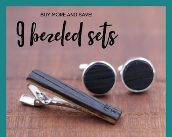 9 Wooden Cufflinks and Tie Bar set - Groomsmen gift - 5th wedding anniversary present - Gift for Him - Graduation Gift - Gift for Husband