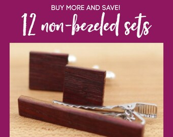 12 Wooden Cufflinks and Tie Bar set - Groomsmen gift - 5th wedding anniversary present - Gift for Him - Graduation Gift - Gift for Husband