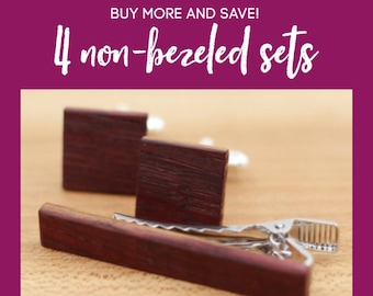 4 Wooden Cufflinks and Tie Bar set - Groomsmen gift - 5th wedding anniversary present - Gift for Him - Graduation Gift - Gift for Husband