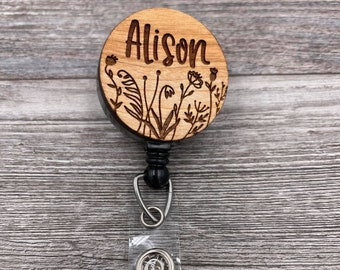 Simple Wildflower Badge Reel, Custom ID Badge, Retractable Badge Reel, Work Badge, Work ID, Custom Badge, Personalized Badge, Co Worker Gift