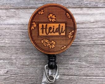 Striped Floral Name Badge Reel, Custom ID Badge, Retractable Badge Reel, Work Badge, Work ID, Personalized Badge, Co Worker Gift