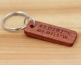 Personalized Rosewood Keychain- Custom Wood Key Chain - Coordinates Key Chain - Groomsman Gift - Bridesmaid Gift - Fathers Day - Anniversary
