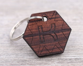 Name Keychain - Initial Keychain - Personalized Rosewood Keychain - Custom Wood Keychain - Hexagon Keychain - Engraved Keychain